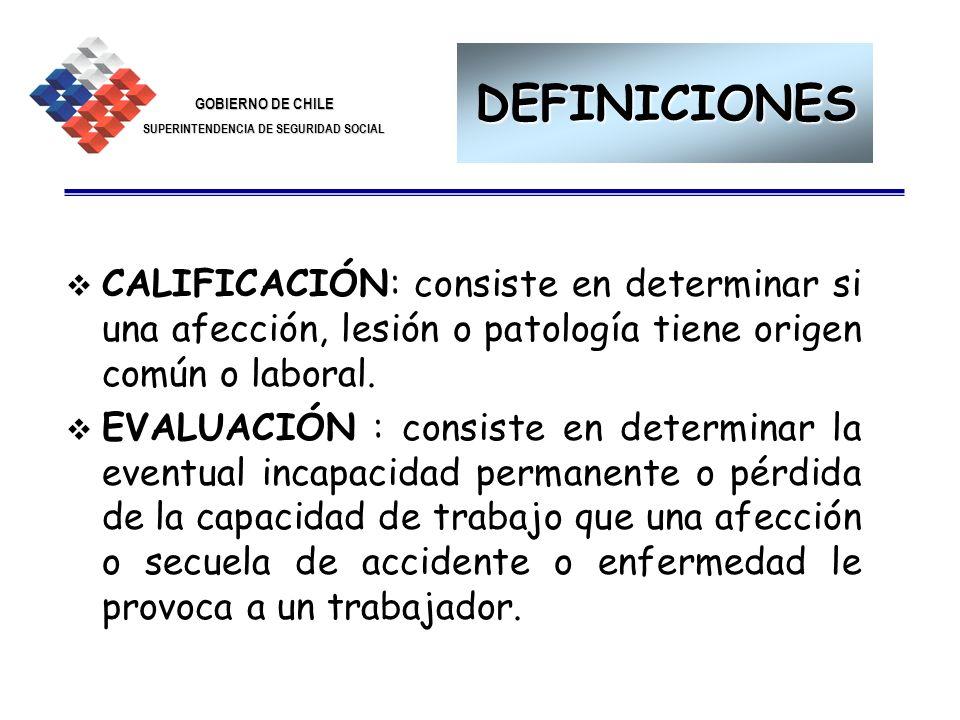 DEFINICIONES CALIFICACIÓN: consiste en determinar si una afección, lesión o patología tiene origen común o laboral.