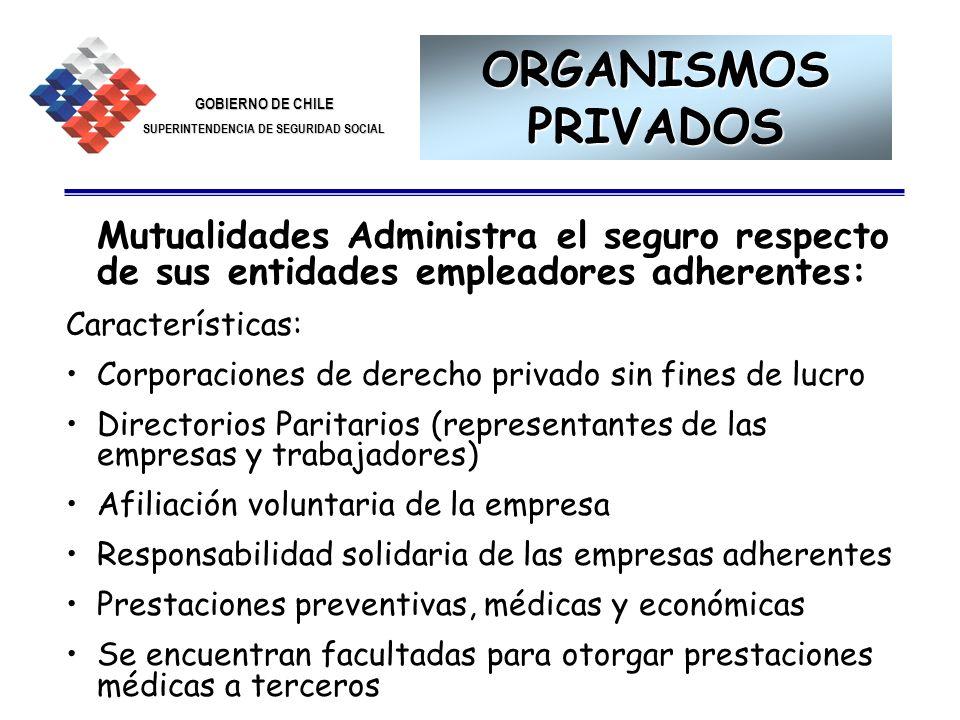 ORGANISMOS PRIVADOS Mutualidades Administra el seguro respecto de sus entidades empleadores adherentes: