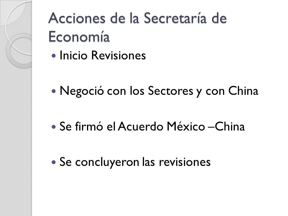 Acciones de la Secretaría de Economía