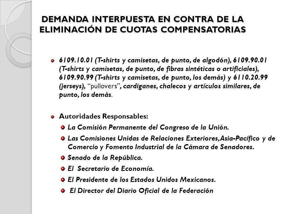 DEMANDA INTERPUESTA EN CONTRA DE LA ELIMINACIÓN DE CUOTAS COMPENSATORIAS