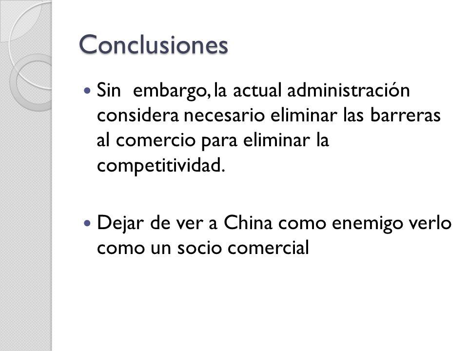 Conclusiones Sin embargo, la actual administración considera necesario eliminar las barreras al comercio para eliminar la competitividad.