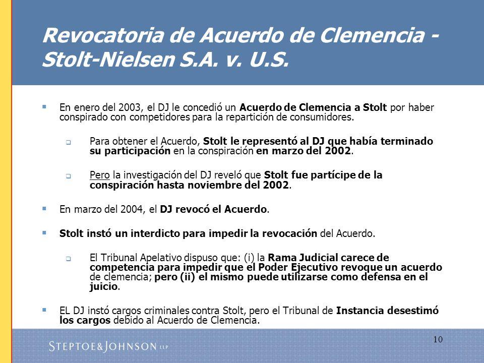 Revocatoria de Acuerdo de Clemencia - Stolt-Nielsen S.A. v. U.S.