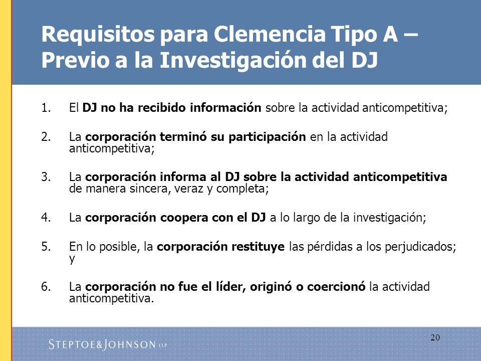 Requisitos para Clemencia Tipo A – Previo a la Investigación del DJ