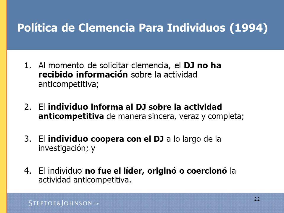 Política de Clemencia Para Individuos (1994)