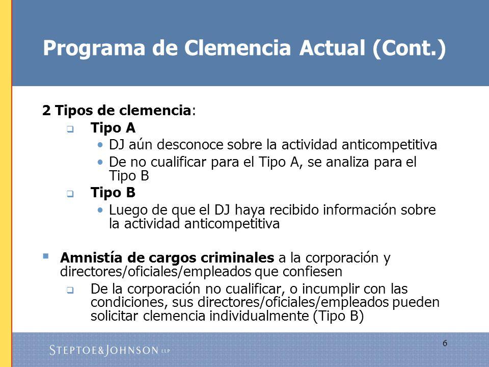 Programa de Clemencia Actual (Cont.)