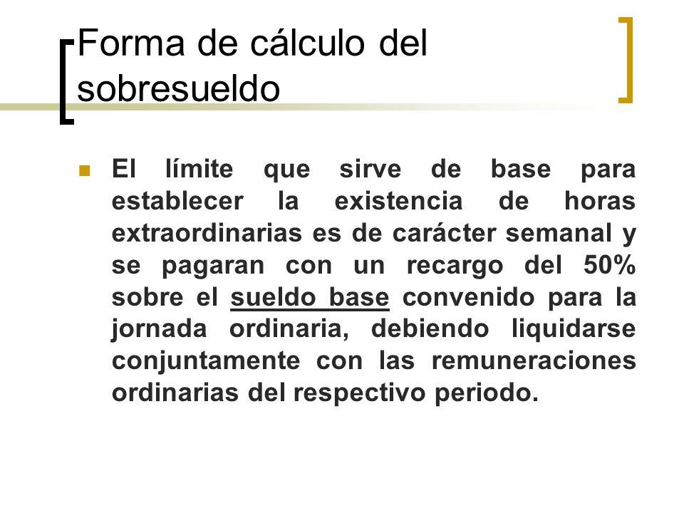 Forma de cálculo del sobresueldo