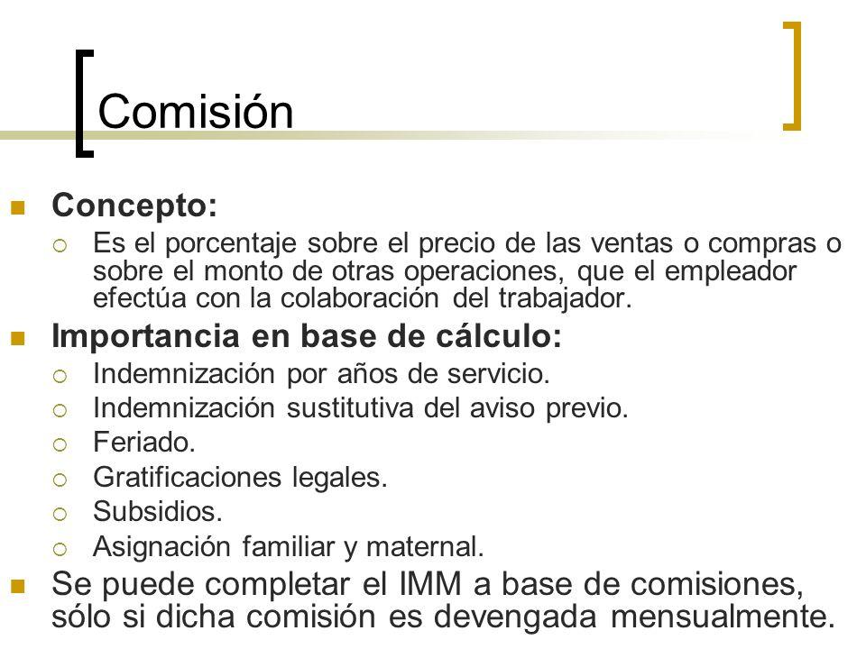 Comisión Concepto: Importancia en base de cálculo: