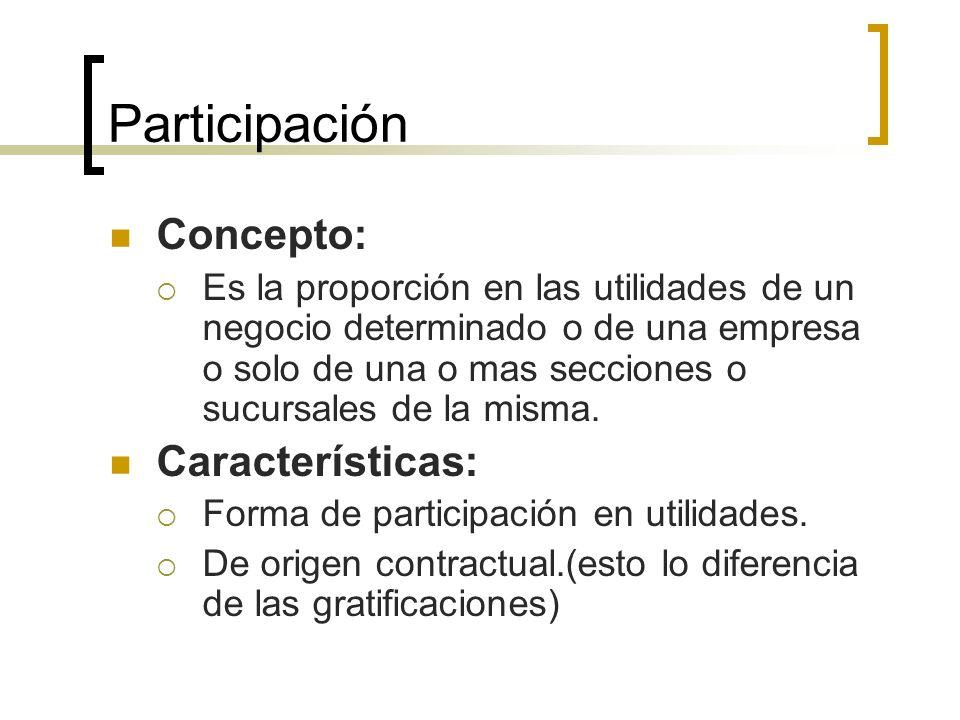 Participación Concepto: Características: