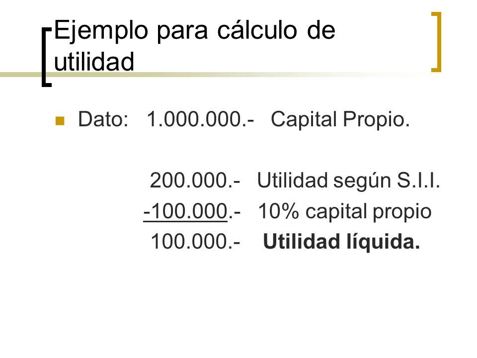 Ejemplo para cálculo de utilidad