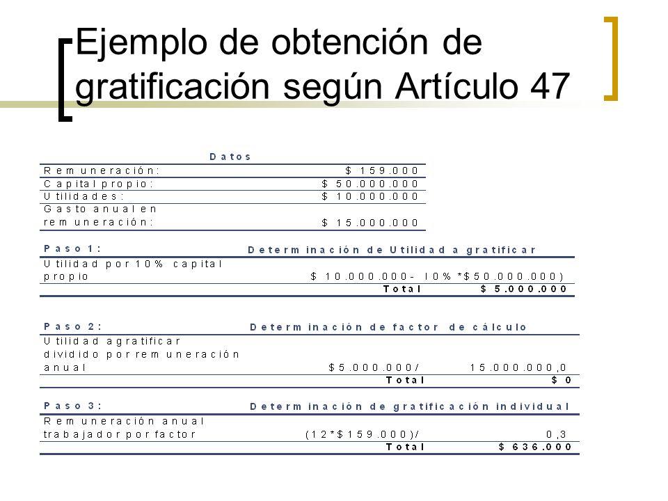 Ejemplo de obtención de gratificación según Artículo 47