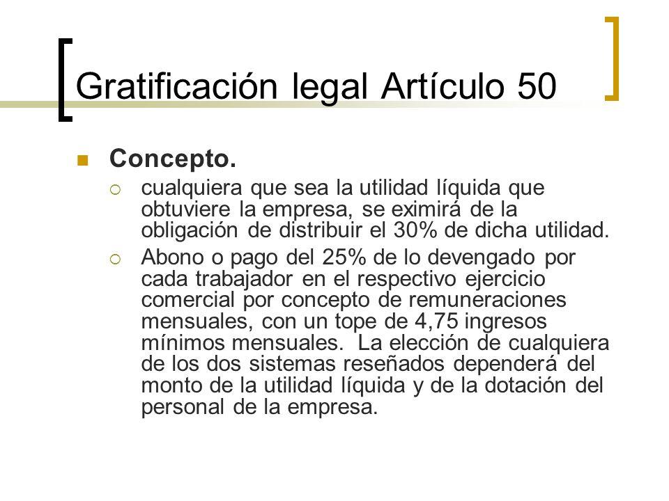Gratificación legal Artículo 50