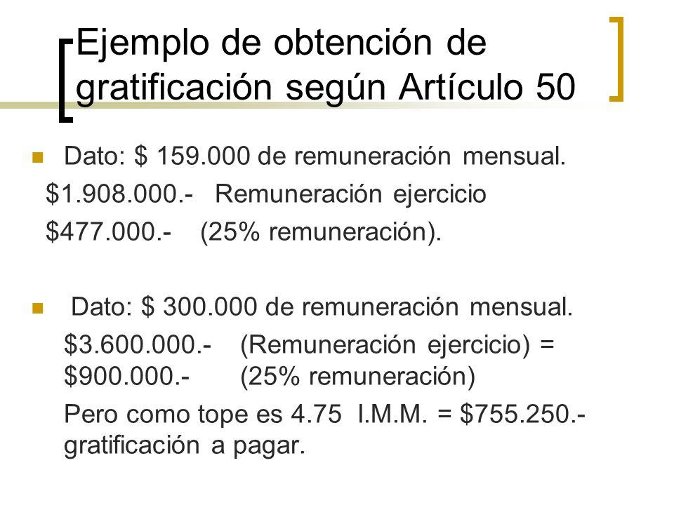 Ejemplo de obtención de gratificación según Artículo 50