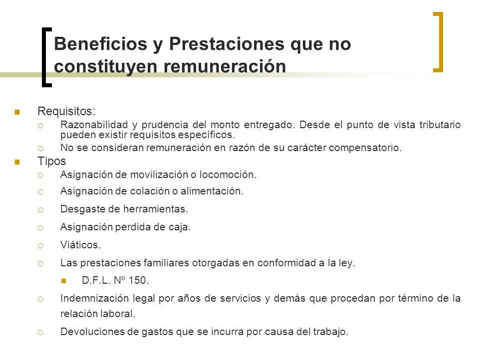 Beneficios y Prestaciones que no constituyen remuneración