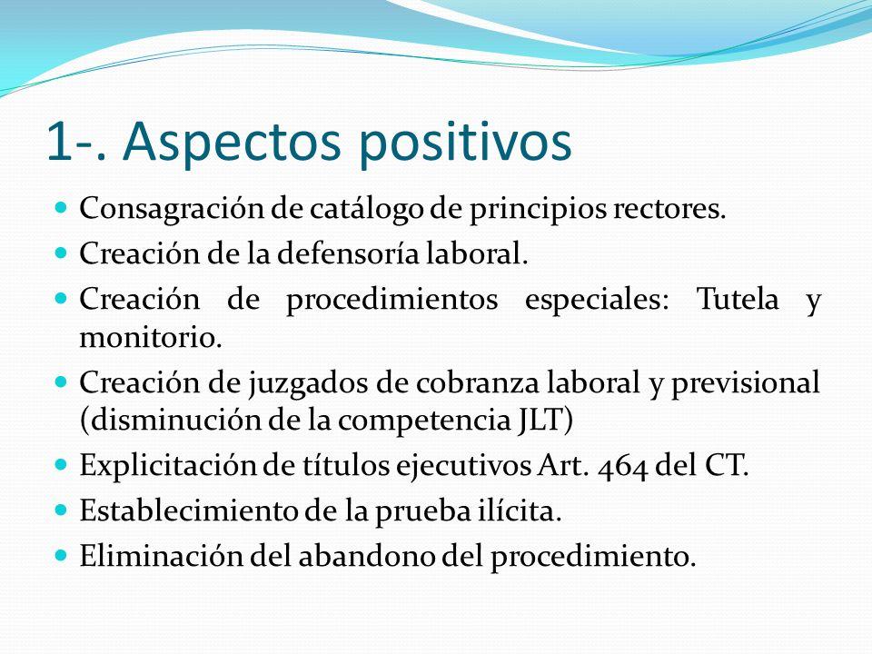 1-. Aspectos positivos Consagración de catálogo de principios rectores. Creación de la defensoría laboral.