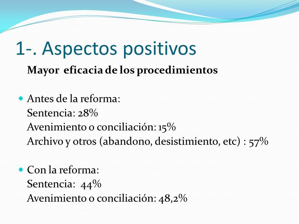 1-. Aspectos positivos Mayor eficacia de los procedimientos