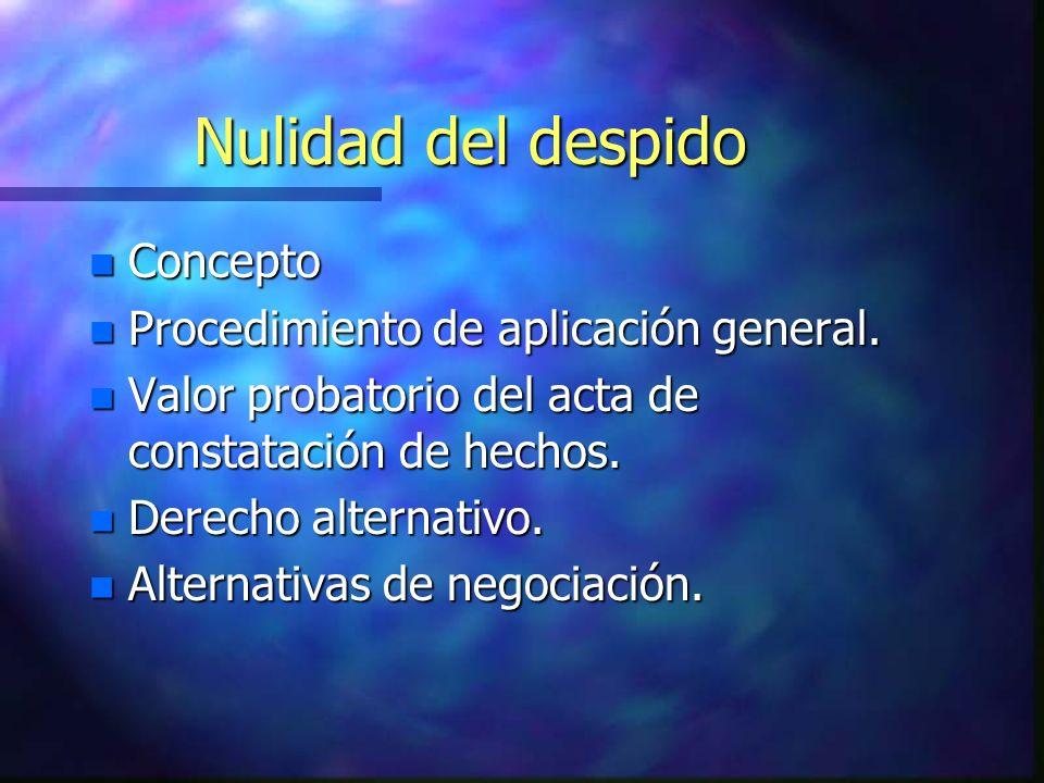 Nulidad del despido Concepto Procedimiento de aplicación general.