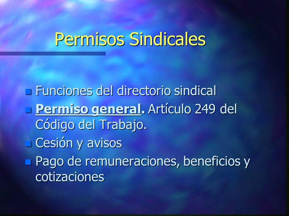 Permisos Sindicales Funciones del directorio sindical