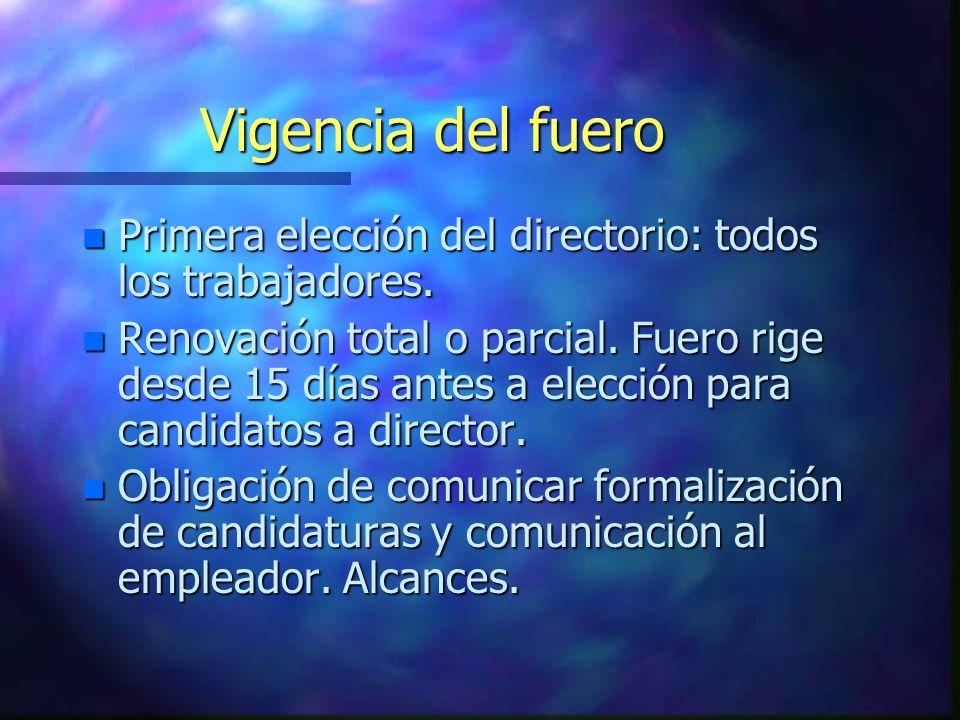 Vigencia del fuero Primera elección del directorio: todos los trabajadores.
