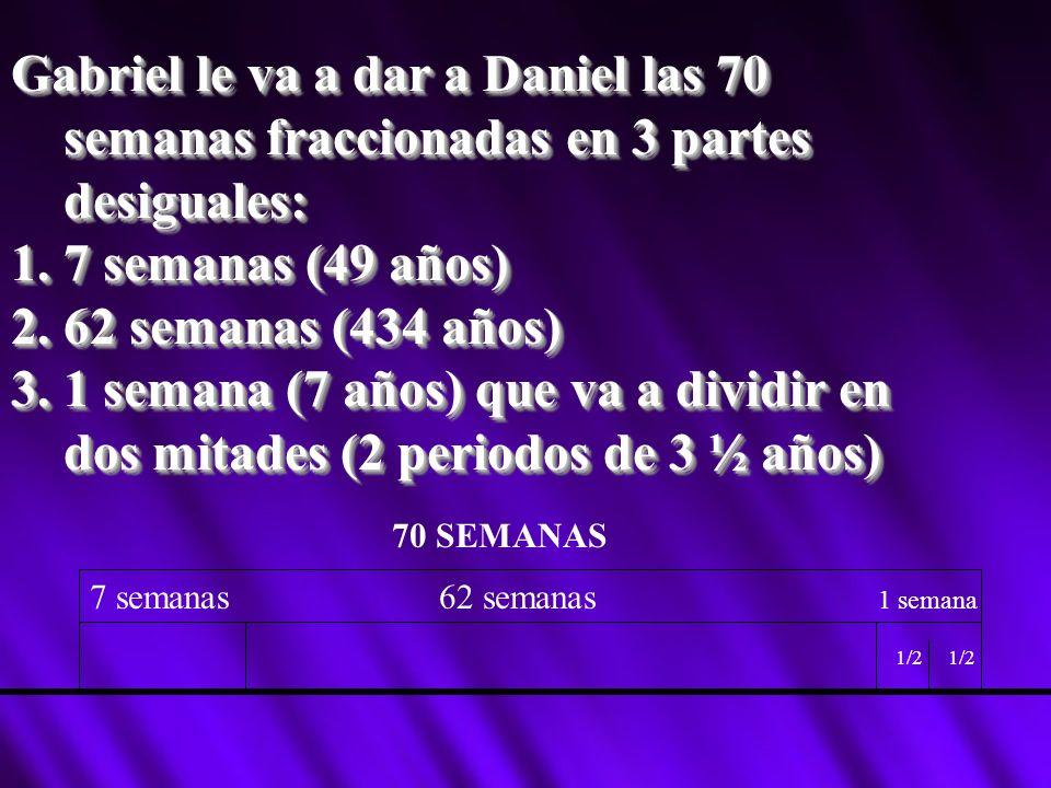 Gabriel le va a dar a Daniel las 70 semanas fraccionadas en 3 partes desiguales: