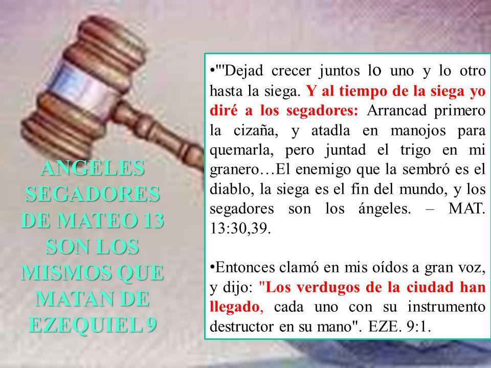ANGELES SEGADORES DE MATEO 13 SON LOS MISMOS QUE MATAN DE EZEQUIEL 9