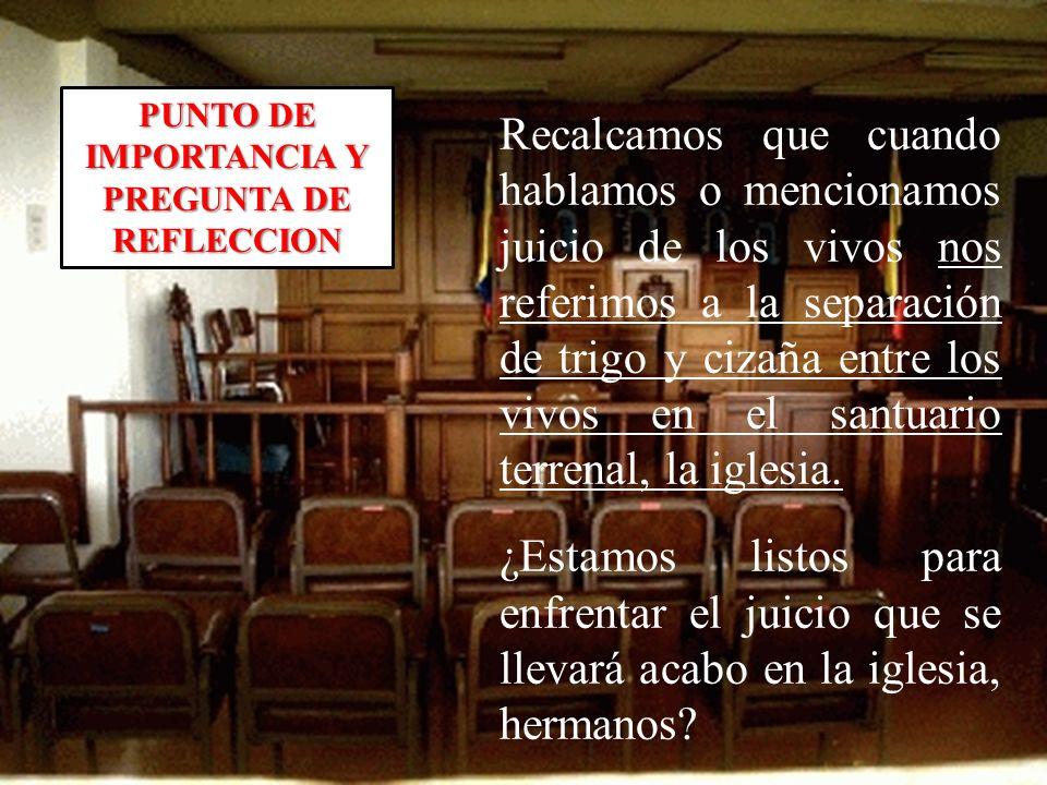 PUNTO DE IMPORTANCIA Y PREGUNTA DE REFLECCION