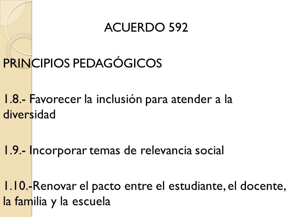 ACUERDO 592 PRINCIPIOS PEDAGÓGICOS 1. 8