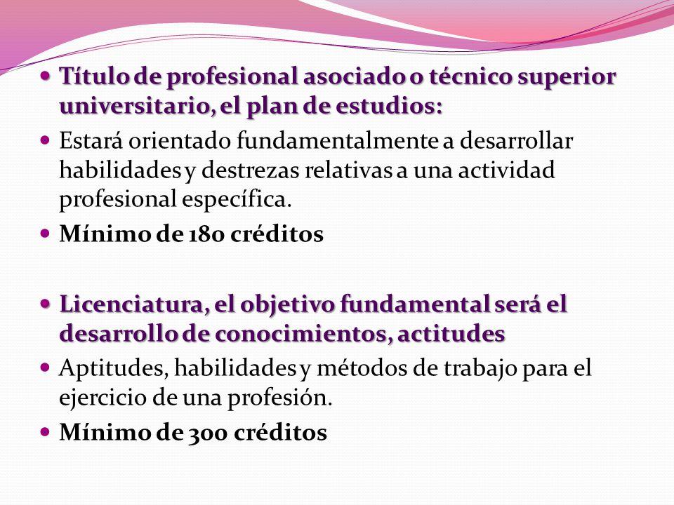 Título de profesional asociado o técnico superior universitario, el plan de estudios: