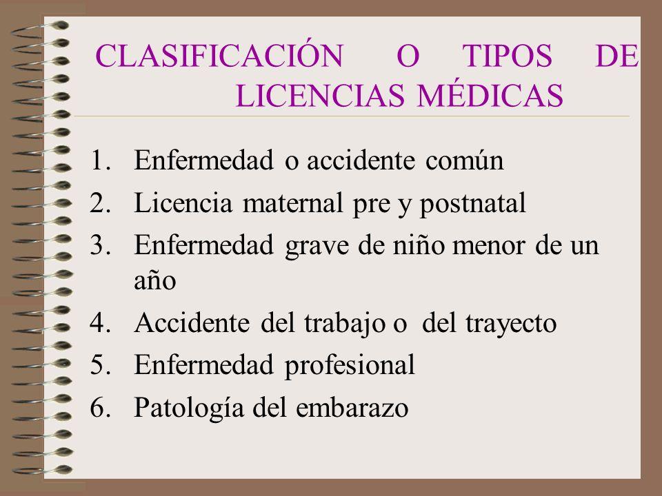 CLASIFICACIÓN O TIPOS DE LICENCIAS MÉDICAS