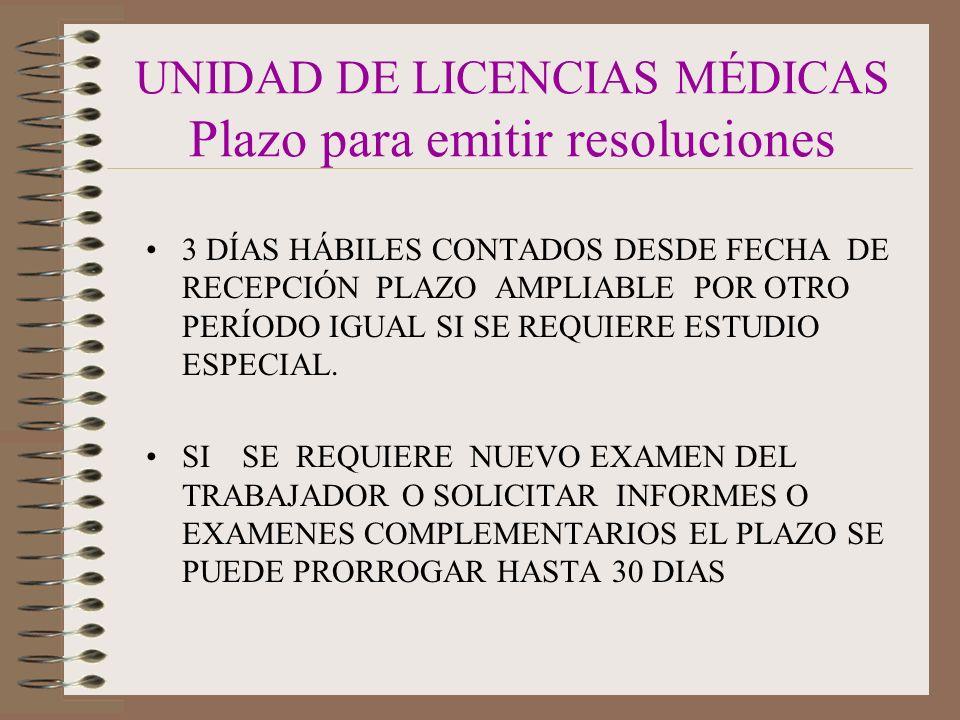 UNIDAD DE LICENCIAS MÉDICAS Plazo para emitir resoluciones