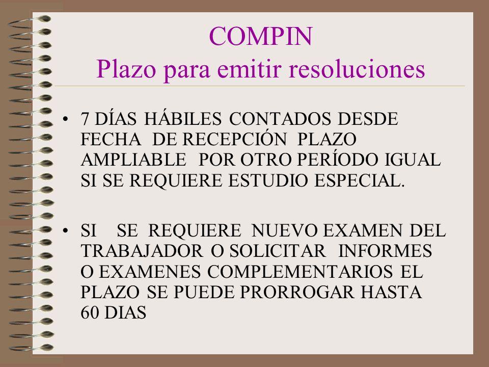 COMPIN Plazo para emitir resoluciones