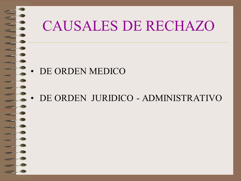 CAUSALES DE RECHAZO DE ORDEN MEDICO DE ORDEN JURIDICO - ADMINISTRATIVO