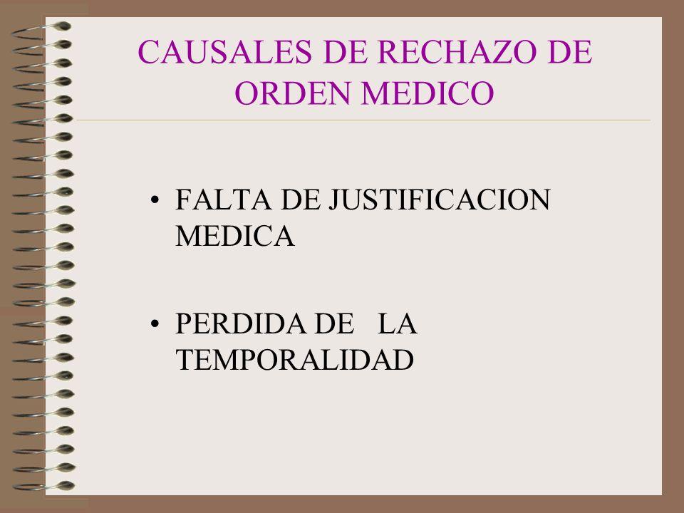CAUSALES DE RECHAZO DE ORDEN MEDICO