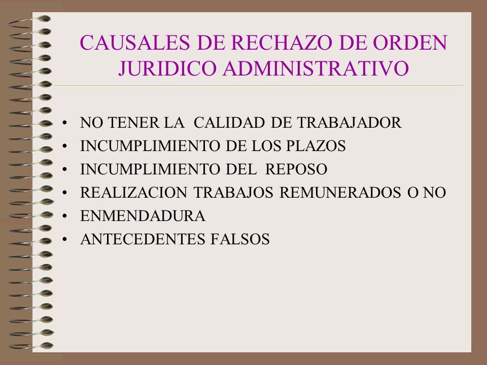 CAUSALES DE RECHAZO DE ORDEN JURIDICO ADMINISTRATIVO