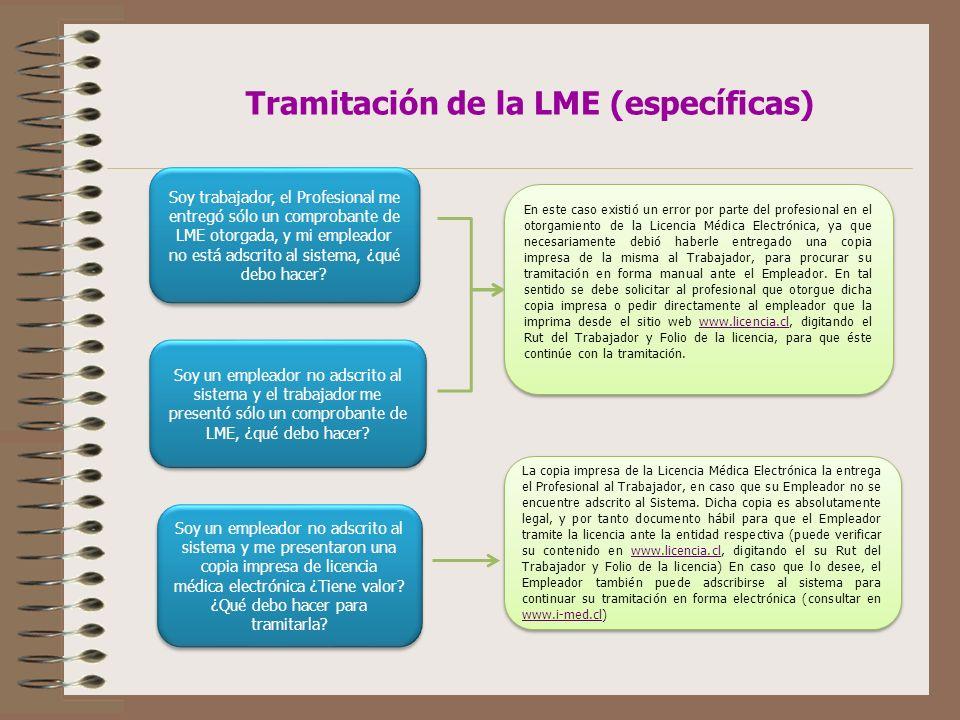 Tramitación de la LME (específicas)