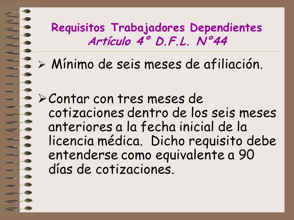 Requisitos Trabajadores Dependientes Artículo 4° D.F.L. N°44