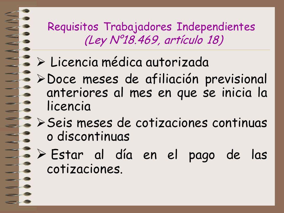Requisitos Trabajadores Independientes (Ley N°18.469, artículo 18)