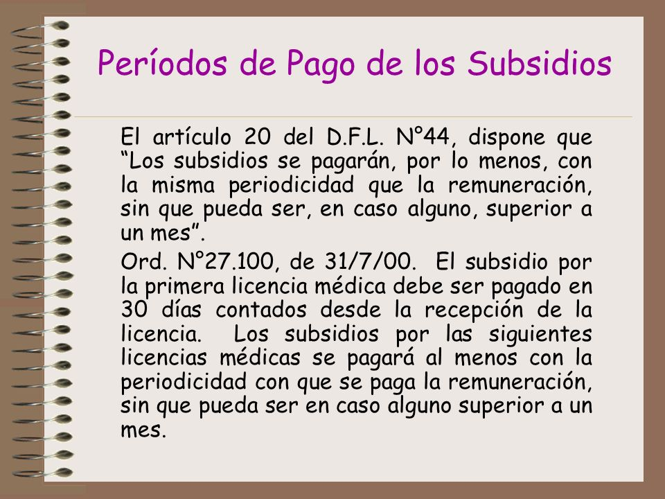 Períodos de Pago de los Subsidios