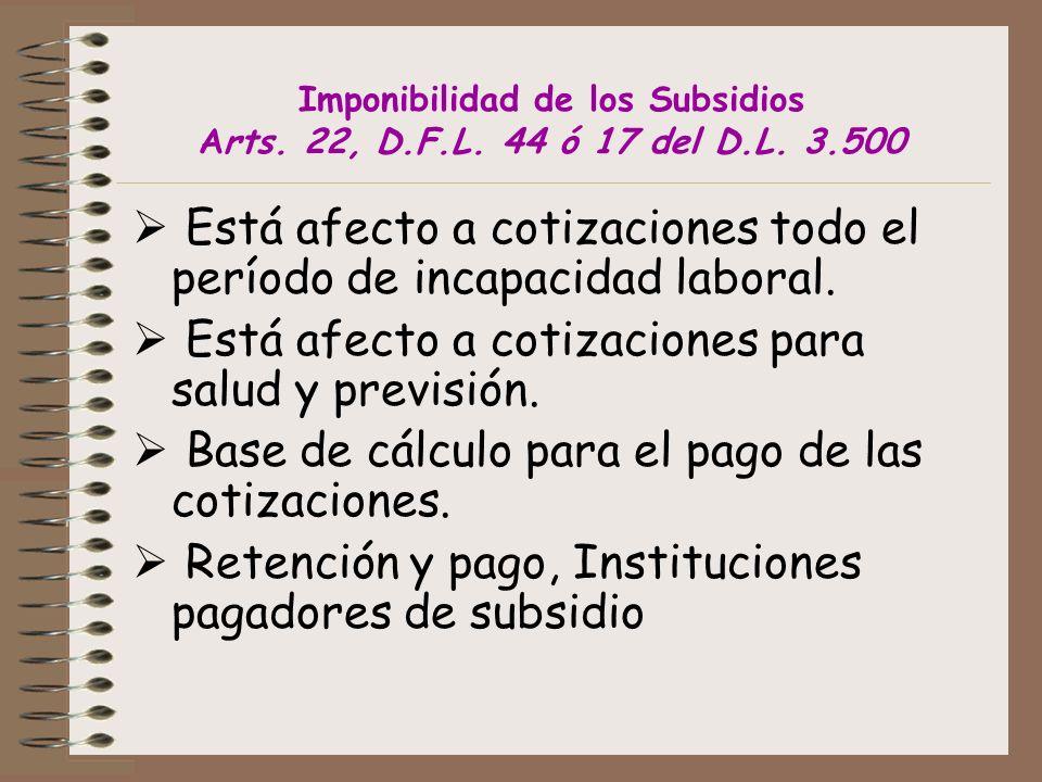 Imponibilidad de los Subsidios Arts. 22, D.F.L. 44 ó 17 del D.L. 3.500