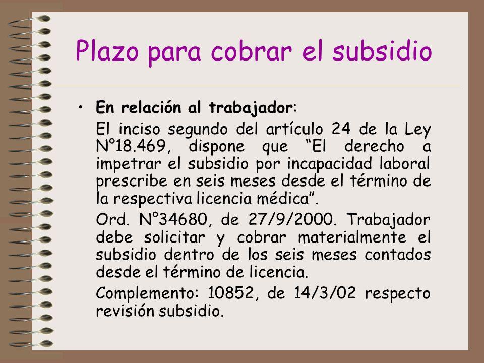 Plazo para cobrar el subsidio