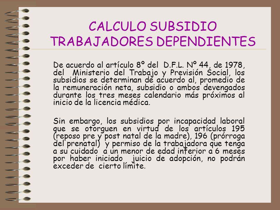 CALCULO SUBSIDIO TRABAJADORES DEPENDIENTES