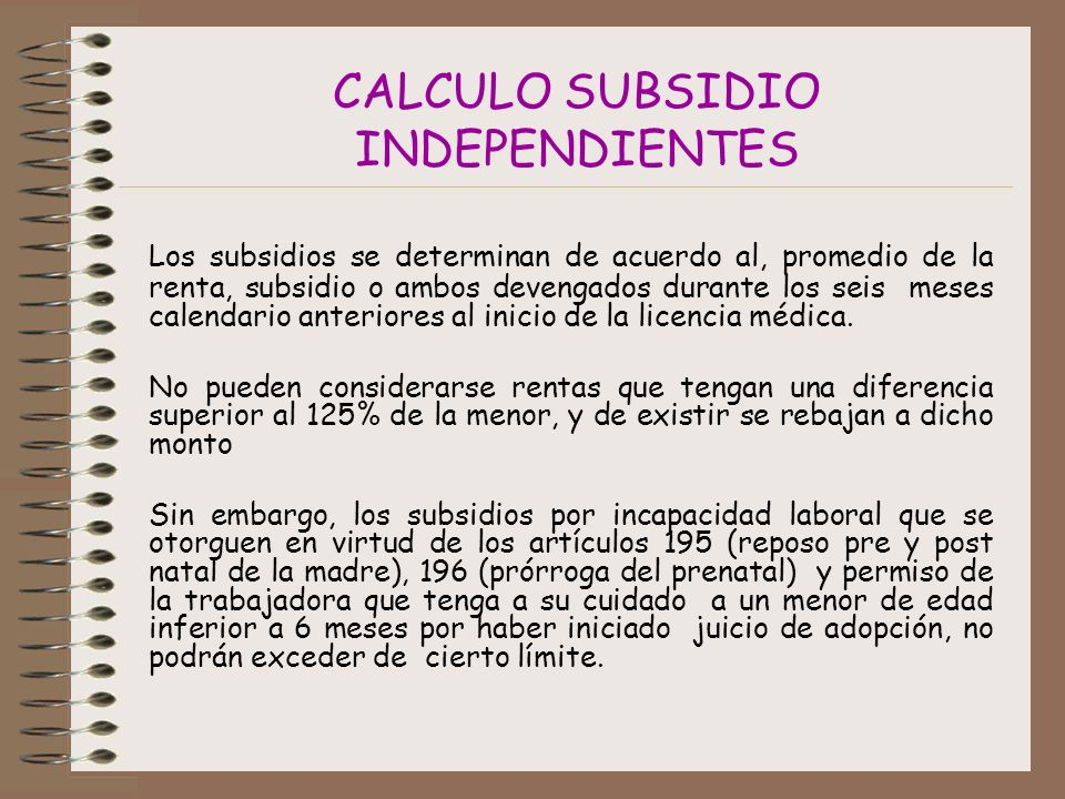 CALCULO SUBSIDIO INDEPENDIENTES
