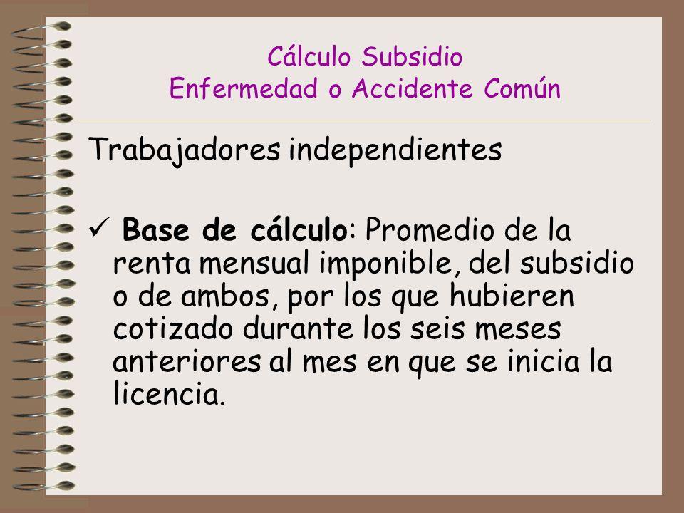 Cálculo Subsidio Enfermedad o Accidente Común