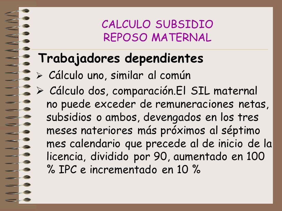 CALCULO SUBSIDIO REPOSO MATERNAL