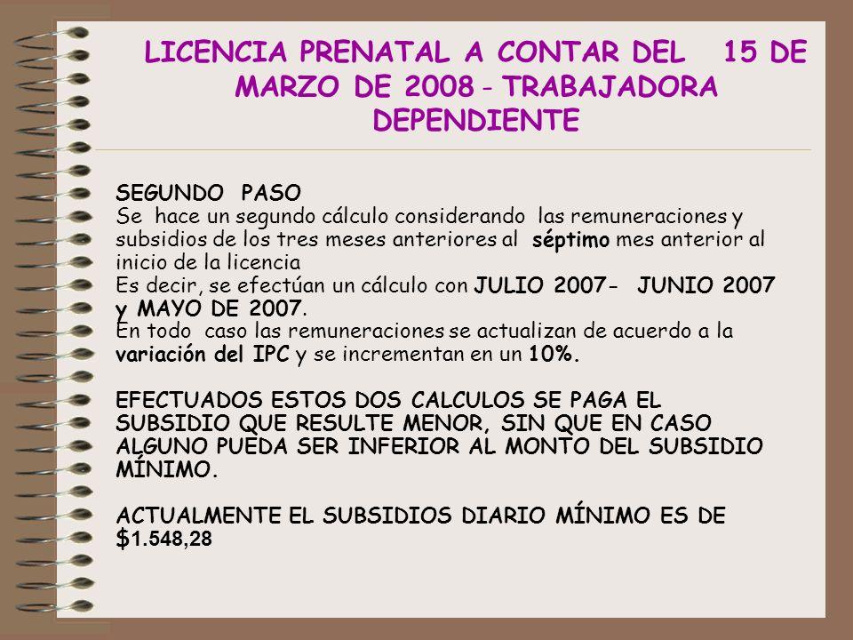 LICENCIA PRENATAL A CONTAR DEL 15 DE MARZO DE 2008 - TRABAJADORA DEPENDIENTE