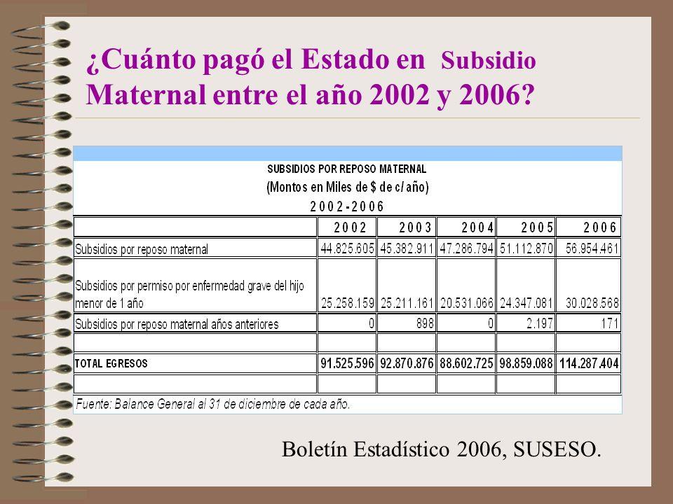 ¿Cuánto pagó el Estado en Subsidio Maternal entre el año 2002 y 2006