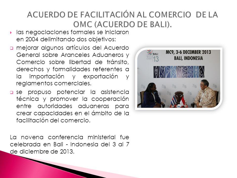 ACUERDO DE FACILITACIÓN AL COMERCIO DE LA OMC (ACUERDO DE BALI).