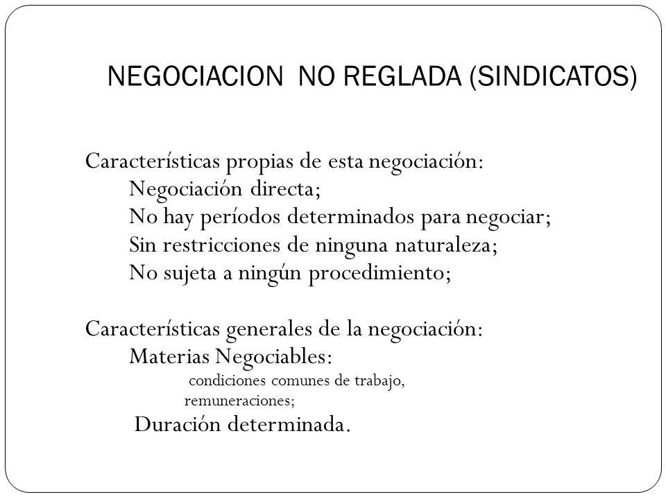 NEGOCIACION NO REGLADA (SINDICATOS)