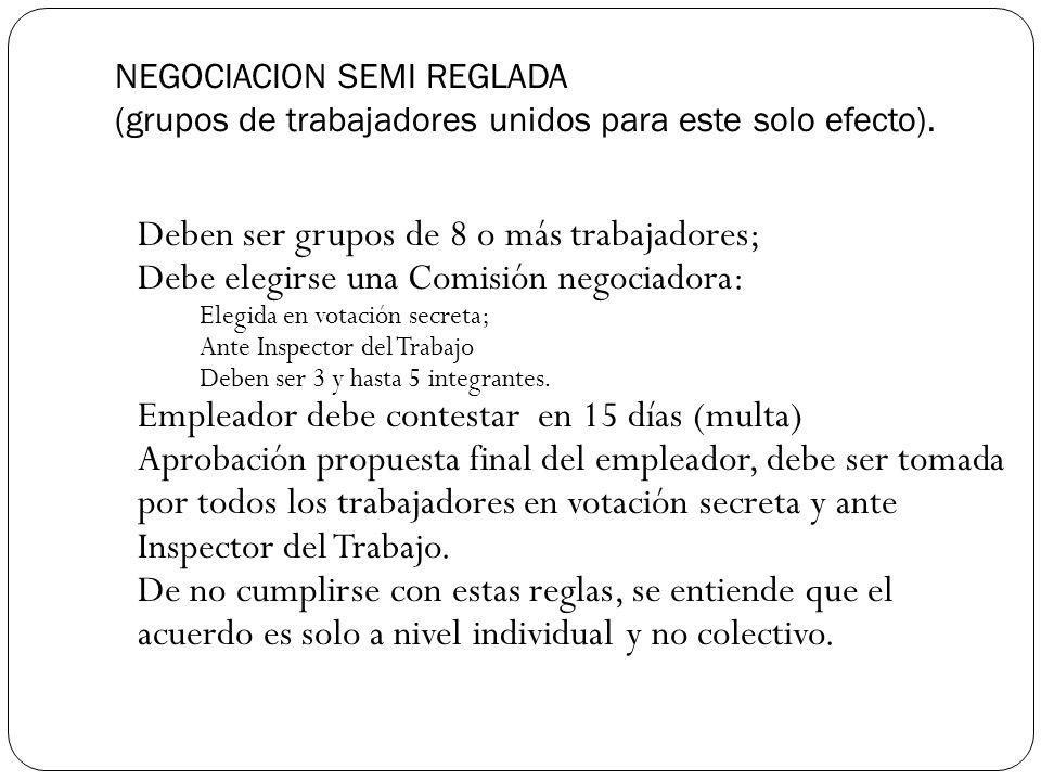 Deben ser grupos de 8 o más trabajadores;