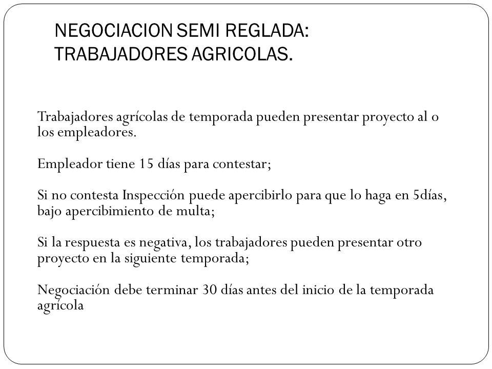 NEGOCIACION SEMI REGLADA: TRABAJADORES AGRICOLAS.