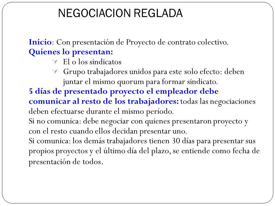 NEGOCIACION REGLADA Inicio: Con presentación de Proyecto de contrato colectivo. Quienes lo presentan: